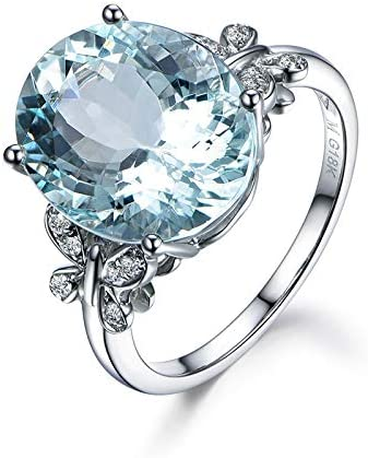 Peony.t 925 Silver Inlaid Zircon Rings 18K White Gold Plated Natural Sea Blue Topaz Butterfly Ring
