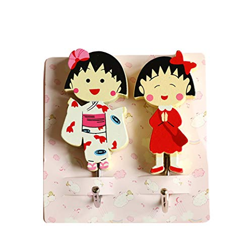 - YOURNELO Cute Cartoon Art Door Wall Mounted Sticky Decorative Key Coat Rack Hooks (B Chi-bi Maruko 2)