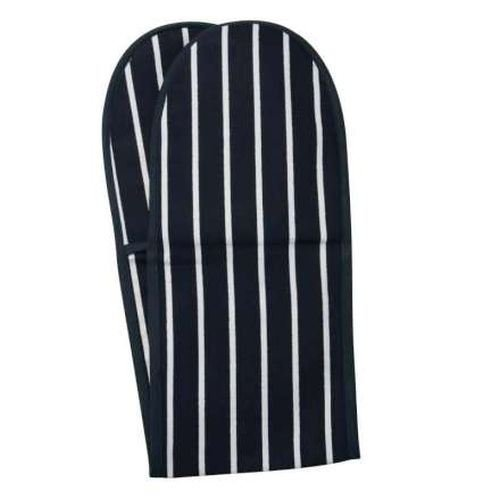 Rushbrookes Classic Butchers Stripe Double Oven Glove - Navy (Pack of 2) by Rushbrookes
