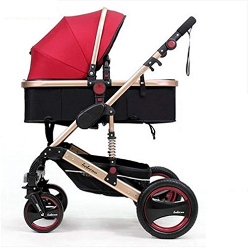 C-Qing Luxury Baby Stroller 2 in 1 High Landscape Baby Prams for Newborns Travel System Baby Trolley Walker Foldable Baby Car Carriage,Red