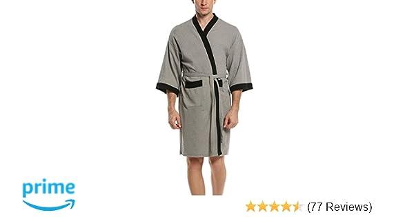 HOTOUCH Mens Waffle Kimono Robe Grey Black M at Amazon Mens Clothing store: