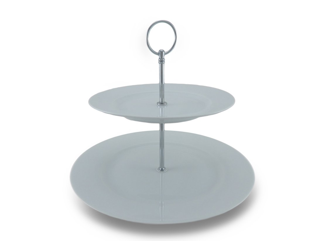 2 Tier White Porcelain Cake Stand w/Chrome Finish Connectors