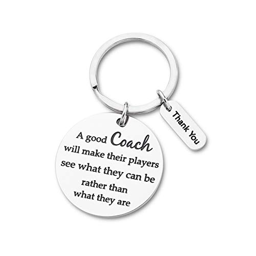 Coach Gift Appreciation Sport Keychain for Basketball Football Baseball Swimming Soccer Gymnastics Retirement Birthday Coaches Men Women from Boys Girls Cheer Key Ring -