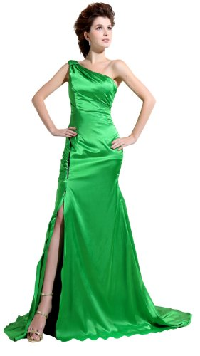 herafa p31326-14 Evening Gowns Elegant One Shoulder Sleeveless Long 0 A-Line Green