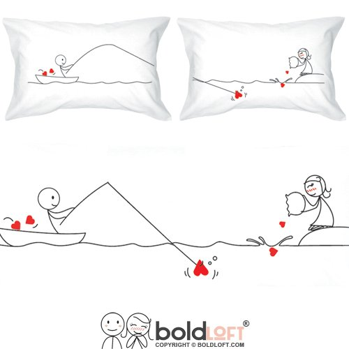 BOLDLOFT Catch My Heart His and Hers Matching Couple Pillowc
