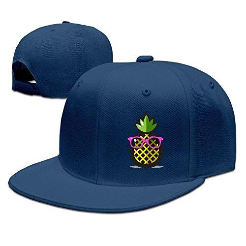WLF Pineapple Yellow With Sunglasses Adult Unisex Adjustable Flat Baseball Cap Snapback Hip-Hop - Sunglasses Lf
