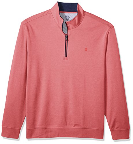 IZOD Men's Big and Tall Advantage Performance Hampton Quarter Zip Pullover, Rapture Rose, X-Large