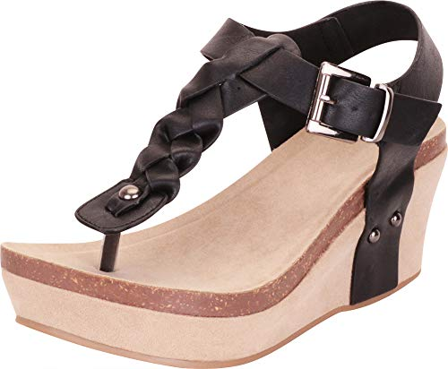 Cambridge Select Women's Thong Toe Braided T-Strap Chunky Platform Mid Wedge Sandal,8.5 B(M) US,Black PU