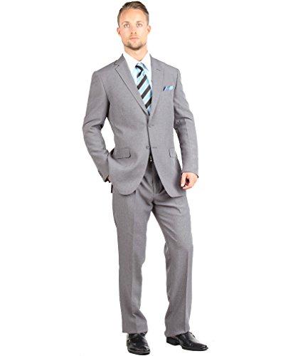 Tazio mens 2 Button 2 Piece Suit Modern Fit 34R Grey