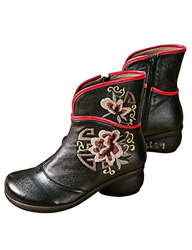 Ankle Block Black Leather Ankle High Heel 2 Casual Retro Booties Women's Style Zipper Fleece Boots Zoulee 0q6Hzn