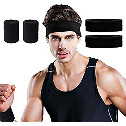Hually Headband Wrist Support Pack Sports Wristbands Absorbent Sweatband for Running Cycling Yoga Basketball Football- Stretchy Moisture Wicking Hairband and Wristbands Estimated Price -