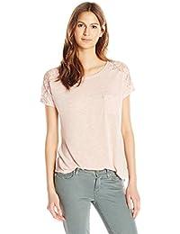 Women's Short Sleeve Lace Trim Shoulder Top
