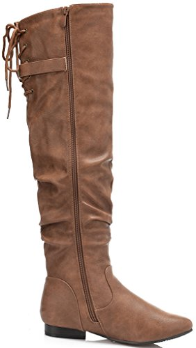 DREAM PAIRS Women's Colby Camel Pu Over The Knee Pull On Boots - 8.5 M US