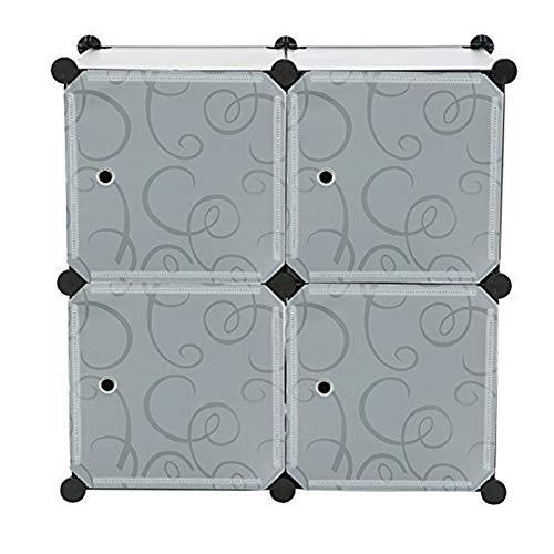 C&AHOME - 4 Cube DIY Bookcase Mini Closet Storage Organizer with Embossed Doors, Black