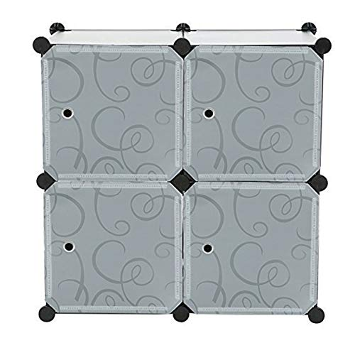 C&AHOME - 4 Cube DIY Bookcase Corner Bookshelf Mini Closet Storage Organizer with Doors, Black