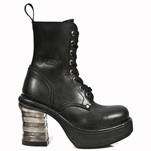 New Rock Metallic Platform Noir Bottes M.8354-S1