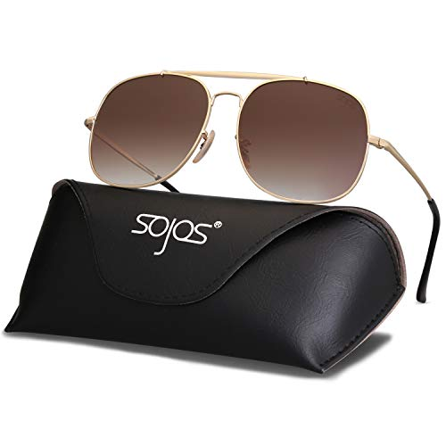 - SOJOS Classic Aviator Polarized Square Sunglasses for Men and Women Mirrored Lens COLONEL SJ1107 with Gold Frame/Gradient Brown Polarized Lens