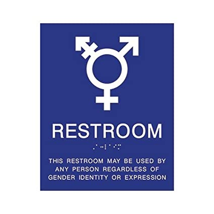ADA COMPLIANT GENDER NEUTRAL SYMBOLS RESTROOM WALL SIGN - 8X10
