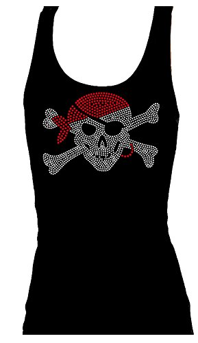 Rockeroo Boutique Pirate Rhinestone Skull and Crossbones Womens Tank Top (M)
