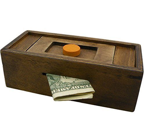 Hidden Bank - Puzzle Box Enigma Secret Discovery - Money and Gift Card Holder in a Wooden Magic Trick Lock with Hidden Compartment Piggy Bank Brain Teaser Game