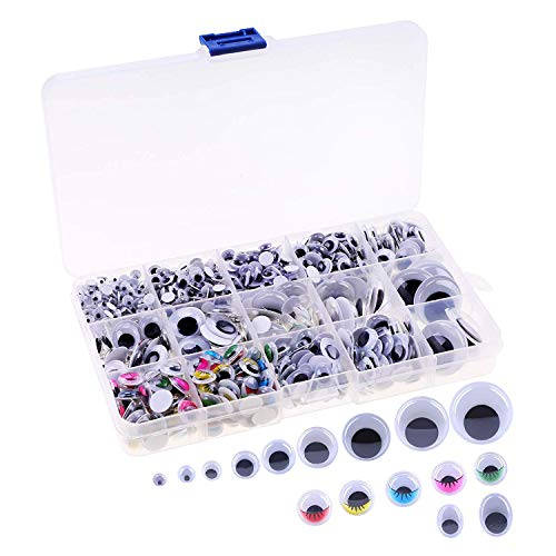 Self-Adhesive Googly Eyes for Crafts, Plastic Wobbly Wiggle Eye Stickers for DIY Animal Craft Suppliers Decorations with Storage Box (Approx 1100 -