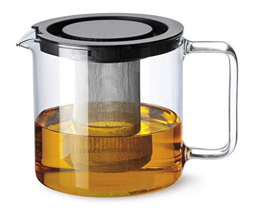 Simax Glassware 1 Quart Teapot with Metal Mesh Infuser | Plastic Lid, Microwave and Stovetop Safe, Heat, Cold, and Thermal Shock Resistant Borosilicate Glass, Makes a Stunning Presentation (1 Teapot Quart)