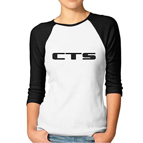 Cadillac CTS Logo Women's 3/4 Sleeve Shirt Baseball Tee Raglan T-Shirts Black ()