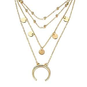 Bishilin Collares de bisutería Monedas Crescent Charms Collar de ...