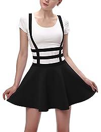 Womens Elastic Waist Pleated Short Braces Skirt