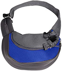 Small Dog Pet Cat Sling Carrier Bag Adjustable Single Shoulder Bag Screen Cloth Outdoor Pet Carriers Dog Kittens Puppy Carrier Travel Backpack Blue