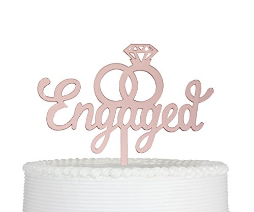 Engaged Cake Topper- Engagement Wedding Party Decorations (Rose Gold) by Qttier