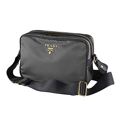 Prada Womens Bandoliera Tessuto Nylon Ardesia Grey Crossbody Bag 1BH089 (grey)