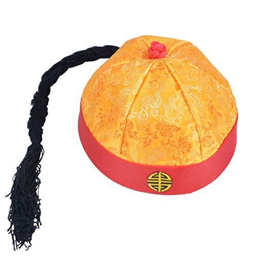 ACVIP Men's Boy's Pig Tail Manchu Qing Dynasty Skull Docker Cap (Yellow,24