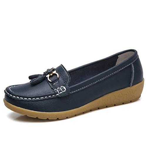ConfortcoloréOrangeTaille Zhrui Smart UkNavy Slip Tassel Sur 2 Nouveau Cuir Mocassin Chaussures Loafer Femmes b6yfvg7Y
