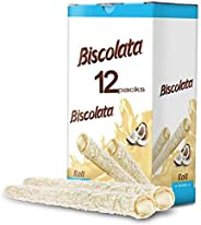 Biscolata Nirvana Rolled Wafers with Premium Chocolate Cream Filled - 12 Pack Rolled Wafer with Milk Chocolate
