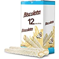 Biscolata Nirvana Rolled Wafers with Premium Chocolate Cream Filled - 12 Pack Rolled Wafer with Milk Chocolate (Coconut)