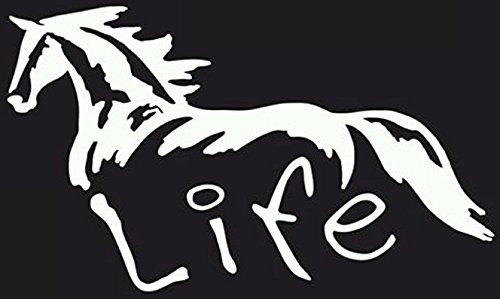 Horse Truck Decals - Horse Life Decal Vinyl Sticker|Cars Trucks Vans Walls Laptop| White |7.5 x 4.5 in|CCI986