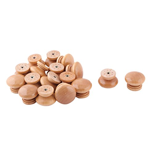 uxcell Wood Home Bedroom Round Door Gate Drawer Cupboard Pull Handle Grip Knob 17pcs by uxcell