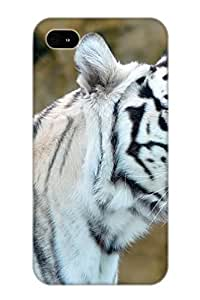 Durable Protector Case Cover With Animal White Tiger Hot Design For Iphone 4/4s (ideal Gift For Lovers)