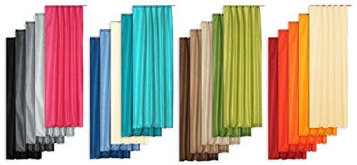 Übergardine Dekoschal halbtransparent Wildseide Optik Vorhang Kräuselband Gardine moderne Unifarbe B/H ca. 140x245 cm #1136 (grün hell)