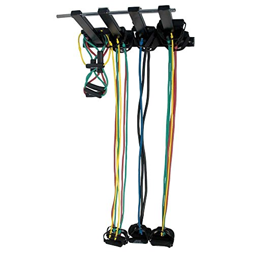 Power Systems Secure Wall-Mounted Rack for Belts or Resistance Bands/Tubes, 26 Inches Long with Four 13-Inch Arms for Holding Bands, Black (68155) by Power Systems
