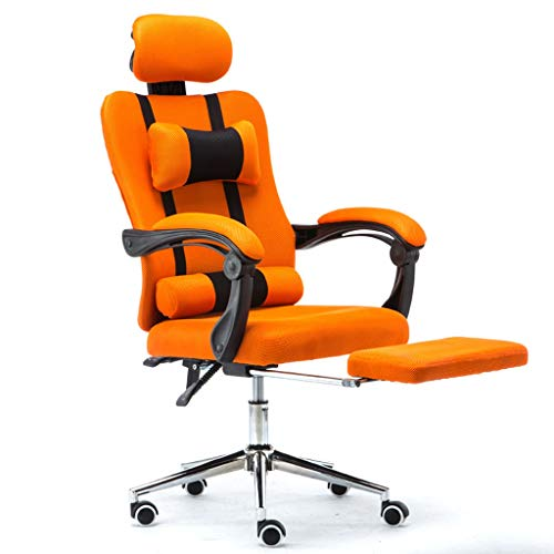 Reclining Seat Cloth Racing - Gaming Chair,Breathable Racing Office Reclining Chair with Footrest Seat,Swivel High Back Recliner Computer Desk Chair (Color : Orange)