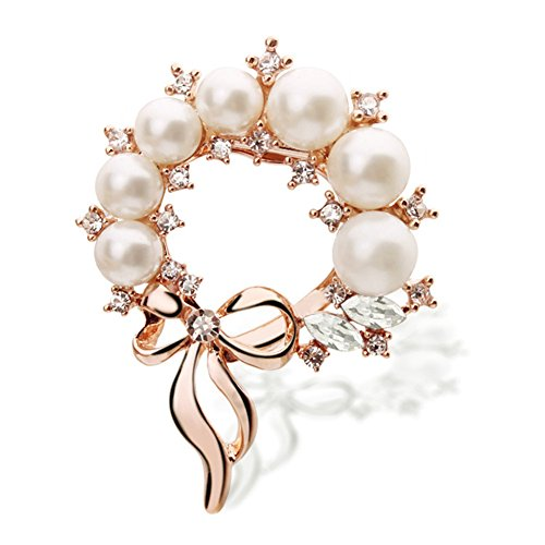 Bow Pearl Clasp (Women's Jewelry Bow Faux Pearl Crystal Scarf Clip Buckle Holder Brooch Rose Gold Multi-uses Chiffon Scarf Clip Brooches Pins)