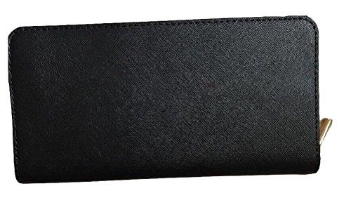 Michael Kors Hamilton viajero gran Zip alrededor de embrague cuero cartera negro