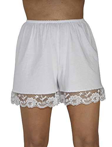 Underworks Pettipants Cotton Knit Culotte Slip Bloomers Split Skirt 4-inch Inseam 2X-Large-White