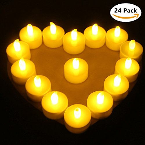 Tea Lights Battery Operated Flameless Candles Led Candles Valentine's Day Decorations 24 P ...