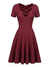 HOTOUCH Women Vintage Short Sleeve V Neck Swing Prom Dress Sundress Wine Red M