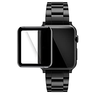 Simpeak Glass Screen Protector for Apple Watch 38mm, HD Clear 3D Curved Full Coverage Tempered Glass Anti-Scratch Anti-Bubble for 38mm Apple Watch Series 3/2/1 - Black