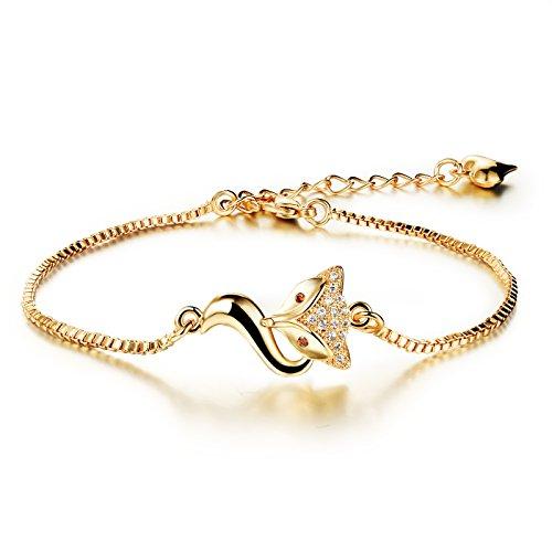 18K Gold Tone Titanium Steel Lucky Fox Bracelet for Women L6.27+1.7