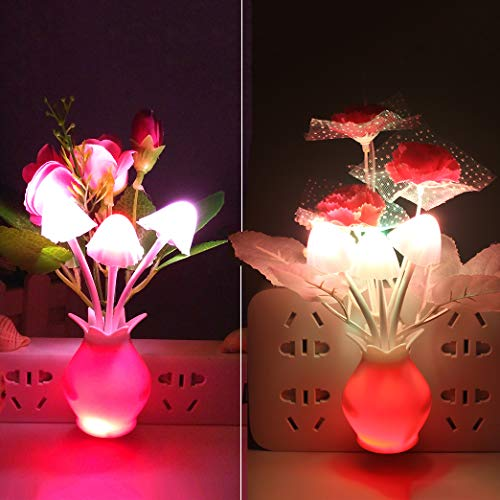 [2 Pack] Warmstor Mushroom Night Light, Rose Clove Flowers Plug-in Mushrooms Colors Changing Nightlight Nursery Bed Lamps Colorful Wall Lamp LED Little Night Lights for Baby Kids Children Adults